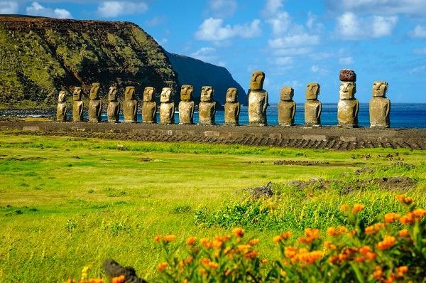 The ancient Moai of Ahu Togariki, on Easter Island,