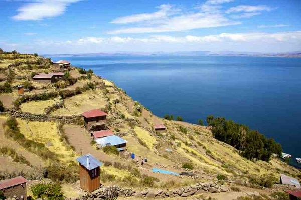 Taquile Island, Terraces, looking out on Lake Titicaca