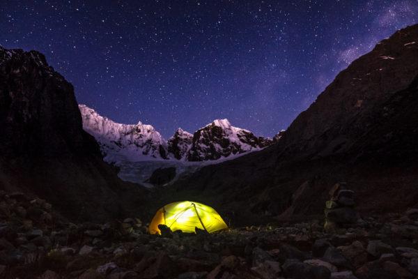 Cordillera Huayhuash, Camping near Laguna Jurau