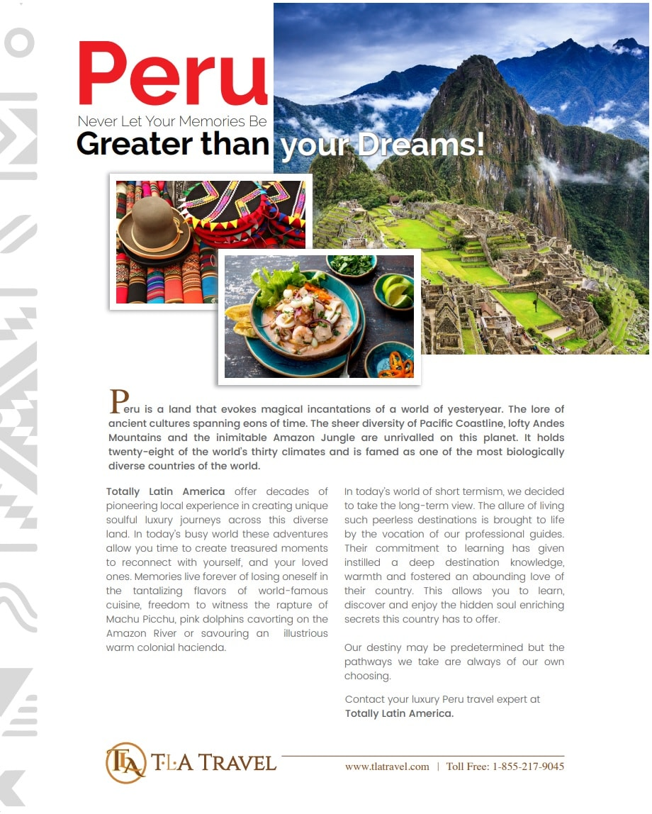 TLA TRAVEL: Article about Peru in American Airlines Celebrated Living Magazine
