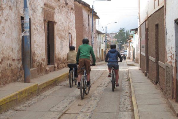 Biking through Maras Village