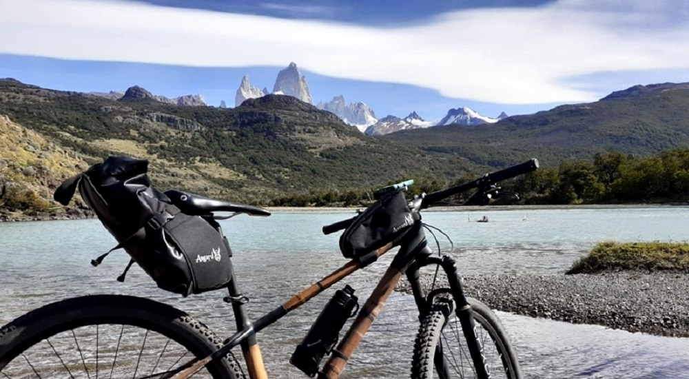 Panoramic view of Mt Fitzroywith Mountain Bike
