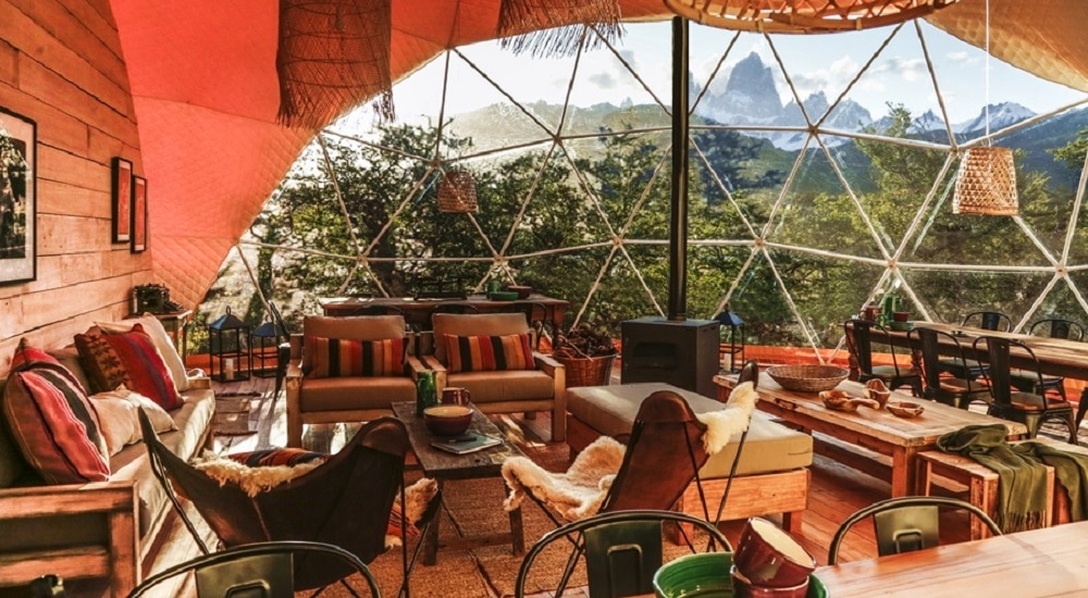 Main Dome tent at El Chalten Glamping