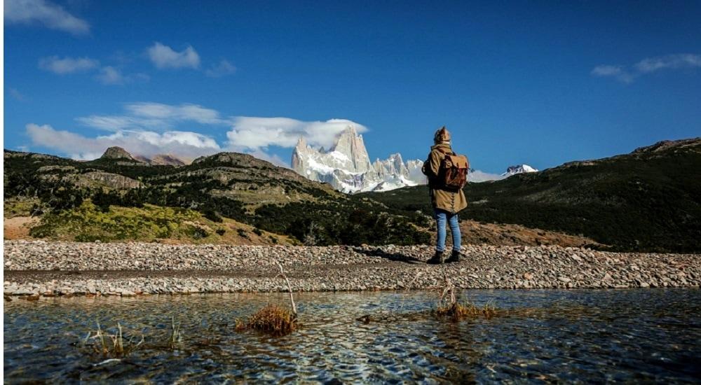Person hiking near Mt. Fizroy