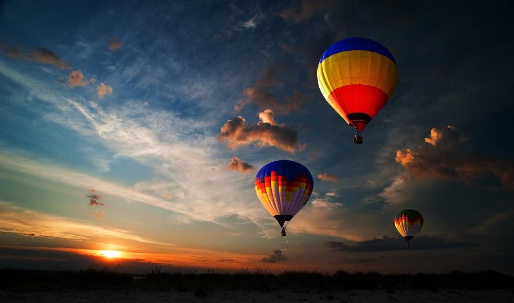 several colorful hot air balloon