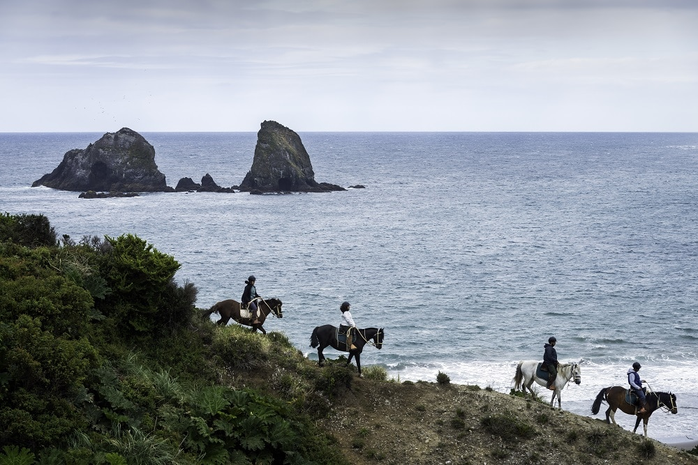 Horseback riders with sea and islands in background