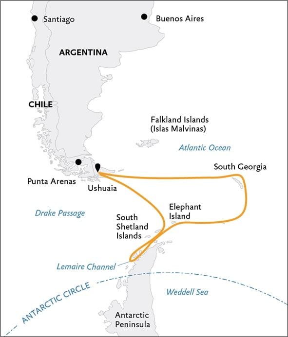 Itinerary route Map for Antarctic Peninsula & South Georgia Island, point to point line drawing