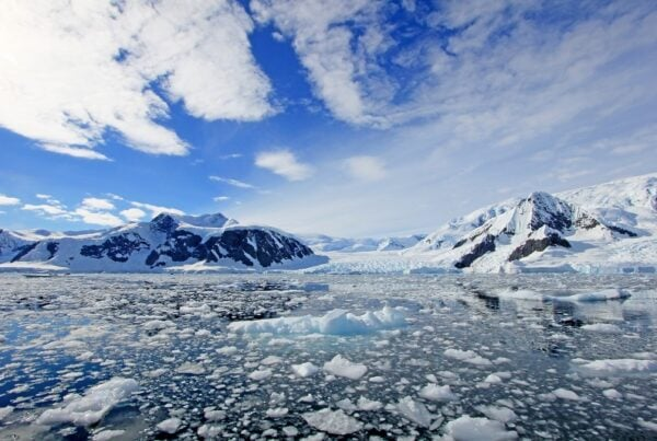 Antarctic sea with melted ice, mountainous scenery
