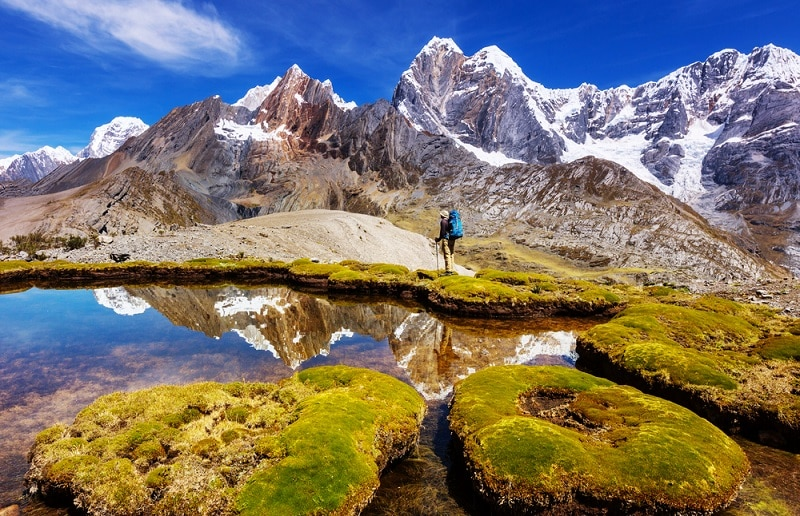Snow-capped mountains with lake, Cordillera Huayhuash