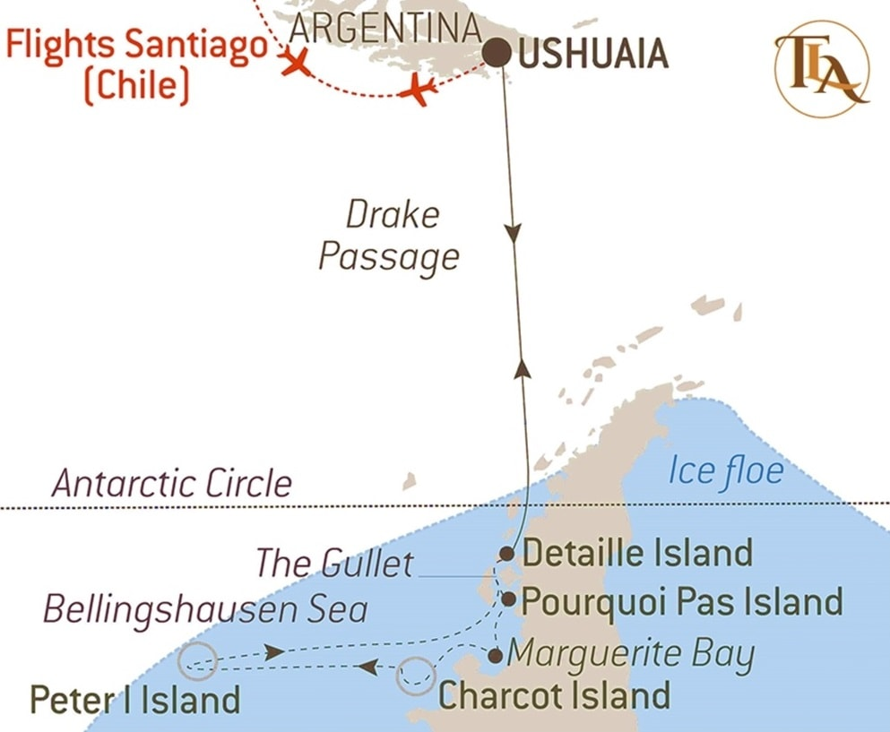 Line Map of Route of luxury Antarctica Cruise
