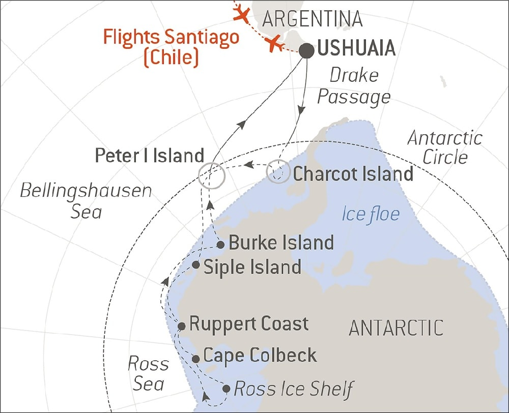 Map of Patagonia and Antarctica showing route in dotted line of route of theRoss Sea luxury Antarctica Cruise