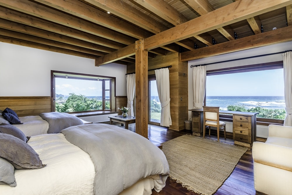 Beautiful twin room with view from window