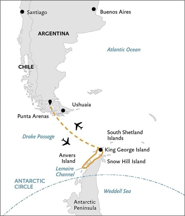 Map of Patagona and Antarctica - short Antarctic Cruise Route